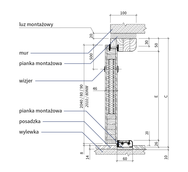 Masywnie Ościeżnica drewniana pełna dla drzwi Bastion [KR Center DH75